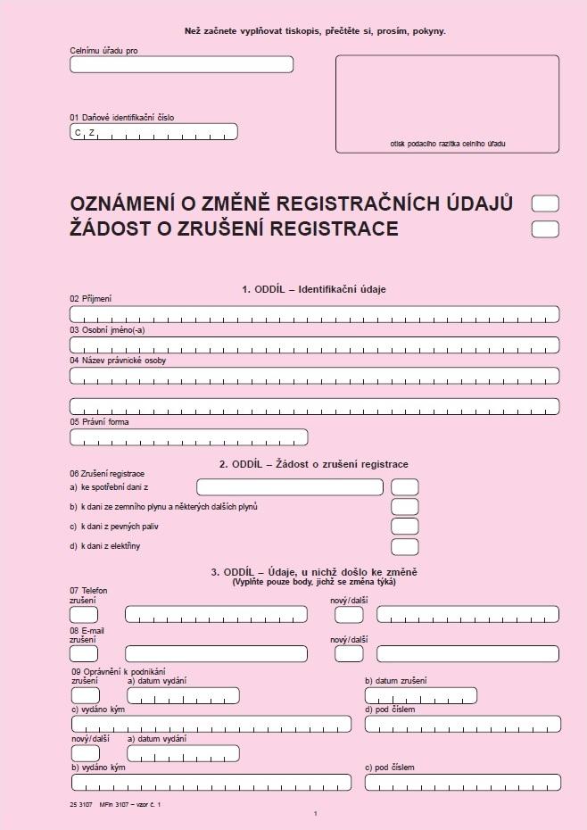 Oznámení o změně registračních údajů / Žádost o zrušení registrace