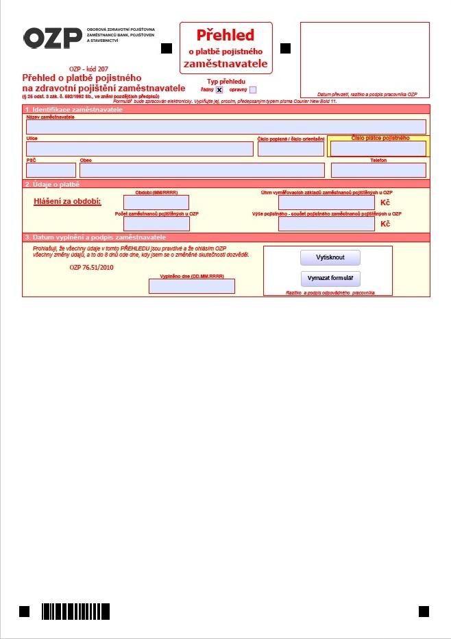 Přehled o platbě pojistného zaměstnavatele – Oborová zdravotní pojišťovna (OZP)