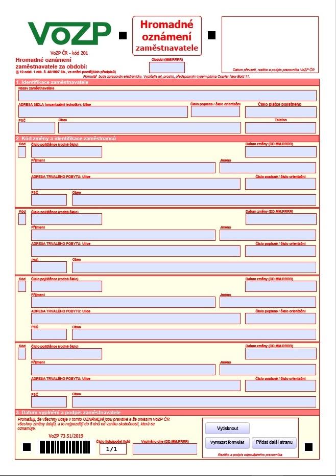 Hromadné oznámení zaměstnavatele – Vojenská zdravotní pojišťovna (VOZP)