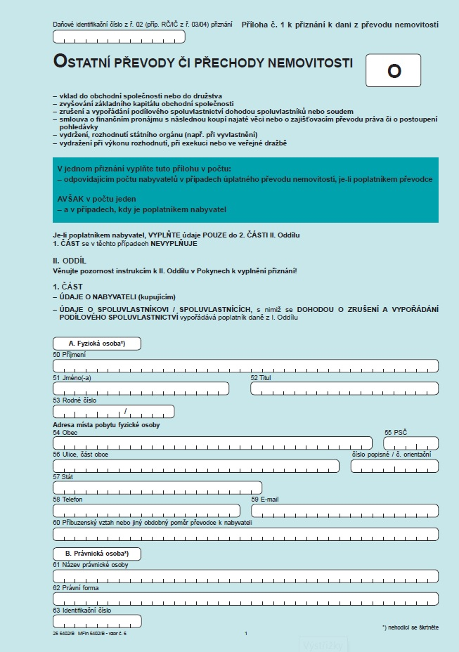 Příloha č. 1 k přiznání k dani z převodu nemovitostí – ostatní převody nemovitosti od 1. 1. 2004 – Finanční správa (FS ČR)