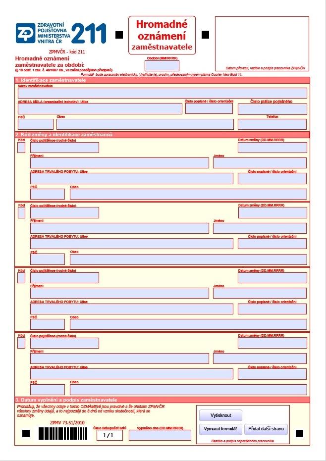 Hromadné oznámení zaměstnavatele – Zdravotní pojišťovna Ministerstva vnitra ČR (ZPMV ČR)