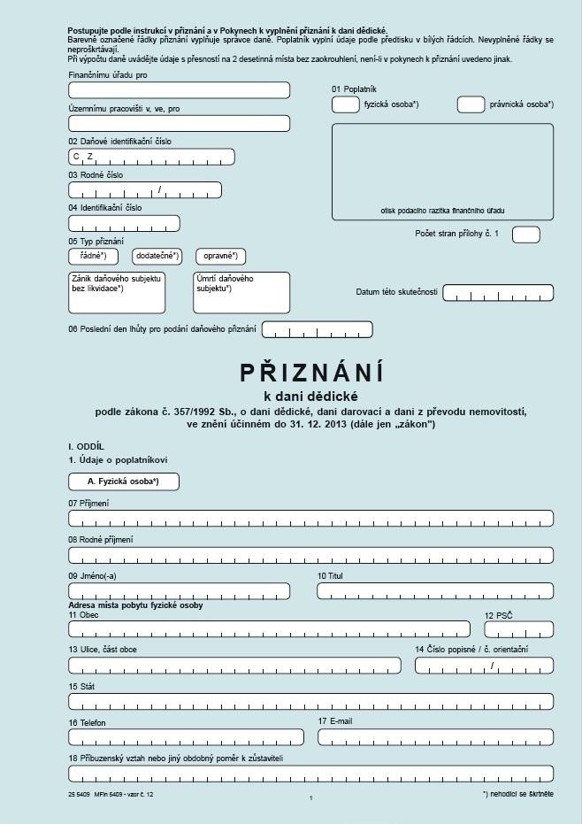 Přiznání k dani dědické – Finanční správa ČR (FS ČR)