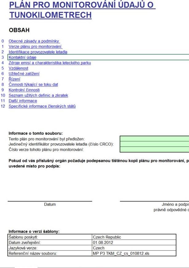 Formulář plánu pro monitorování údajů o tunokilometrech – Ministerstvo životního prostředí (MŽP)