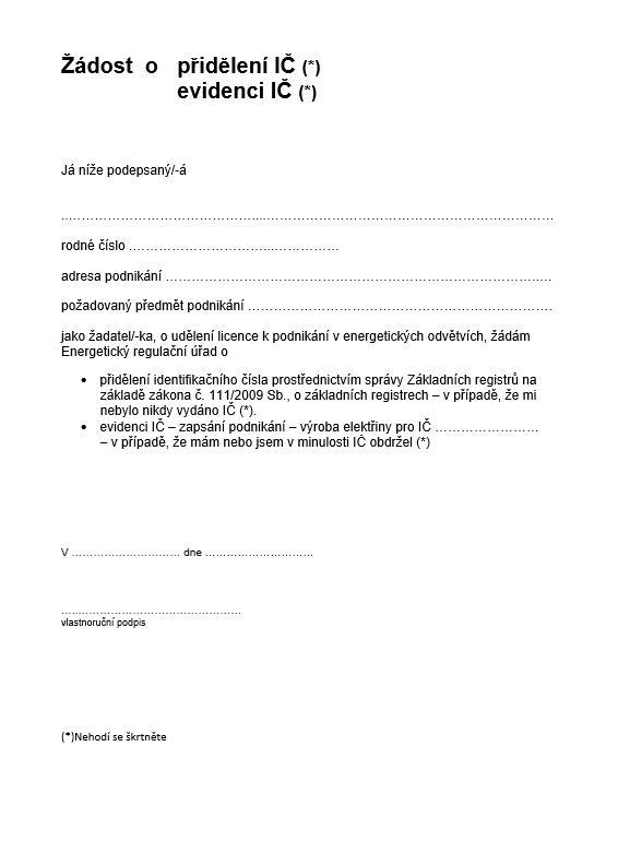 Žádost o přidělení nebo evidenci IČ – Energetický regulační úřad (ERÚ)