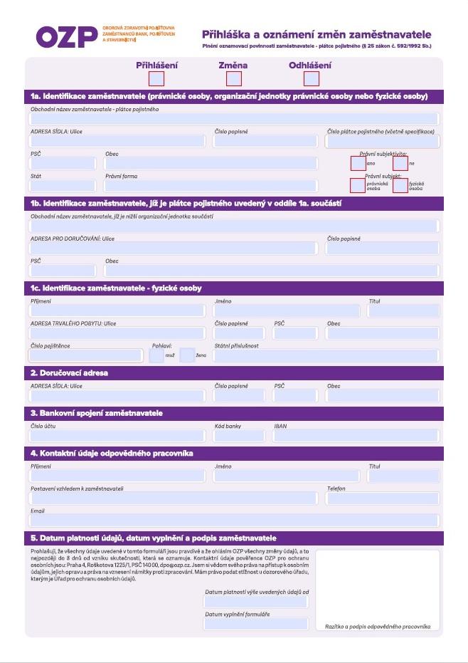 Přihlášení / odhlášení / oznámení změn zaměstnavatele – Oborová zdravotní pojišťovna (OZP)