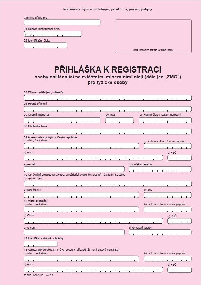 Přihláška k registraci pro fyzickou osobu nakládající se zvláštními minerálními oleji (včetně všech příloh)
