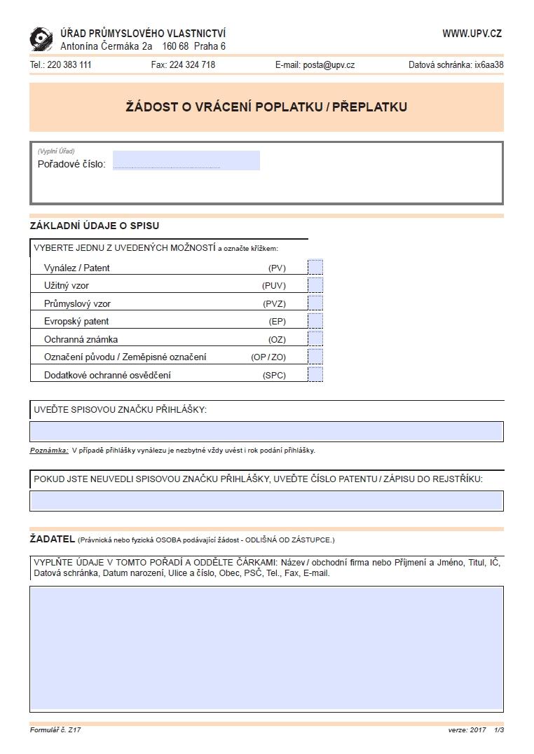 Žádost o vrácení poplatku/ přeplatku – Úřad průmyslového vlastnictví (ÚPV)