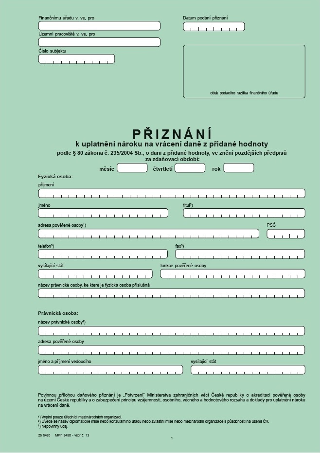Přiznání k uplatnění nároku na vrácení daně z přidané hodnoty – Finanční správa (FS ČR)