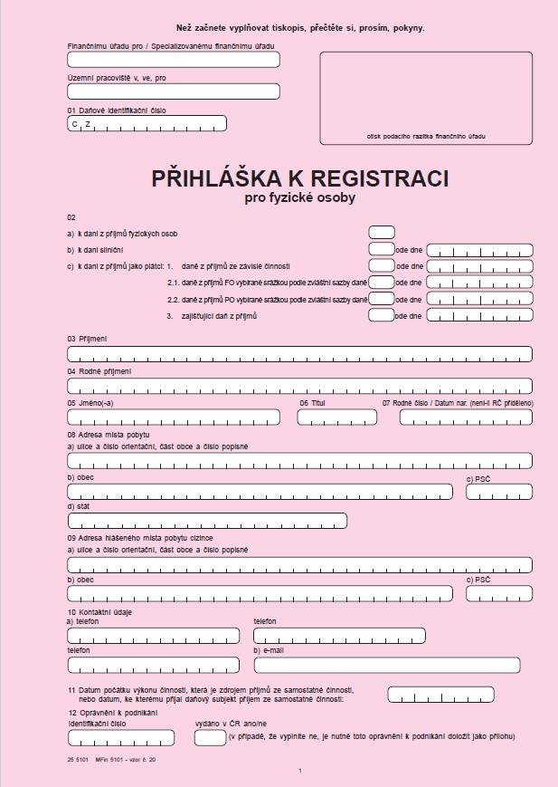 Přihláška k registraci pro fyzické osoby – univerzální – Finanční správa ČR (FS ČR)