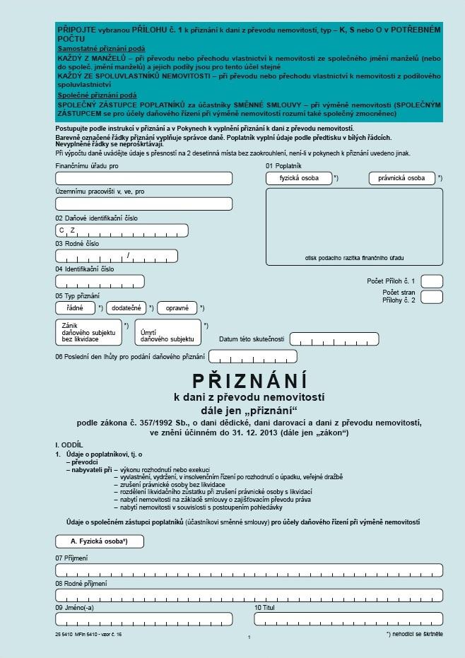 Přiznání k dani z převodu nemovitostí od 1. 1. 2004 – Finanční správa (FS ČR)