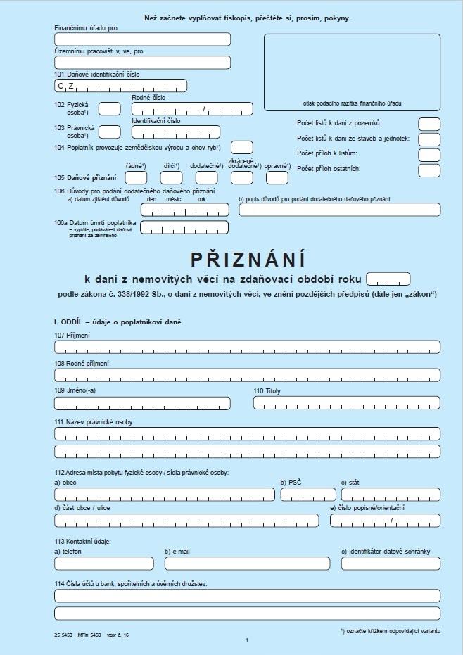 Přiznání k dani z nemovitých věcí – Finanční správa ČR (FS ČR)