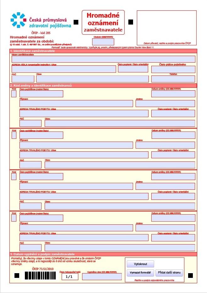 Hromadné oznámení zaměstnavatele – Česká průmyslová zdravotní pojišťovna (ČPZP)