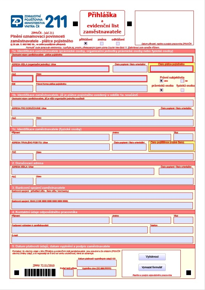 Přihláška a evidenční list zaměstnavatele – Zdravotní pojišťovna Ministerstva vnitra ČR (ZPMV ČR)