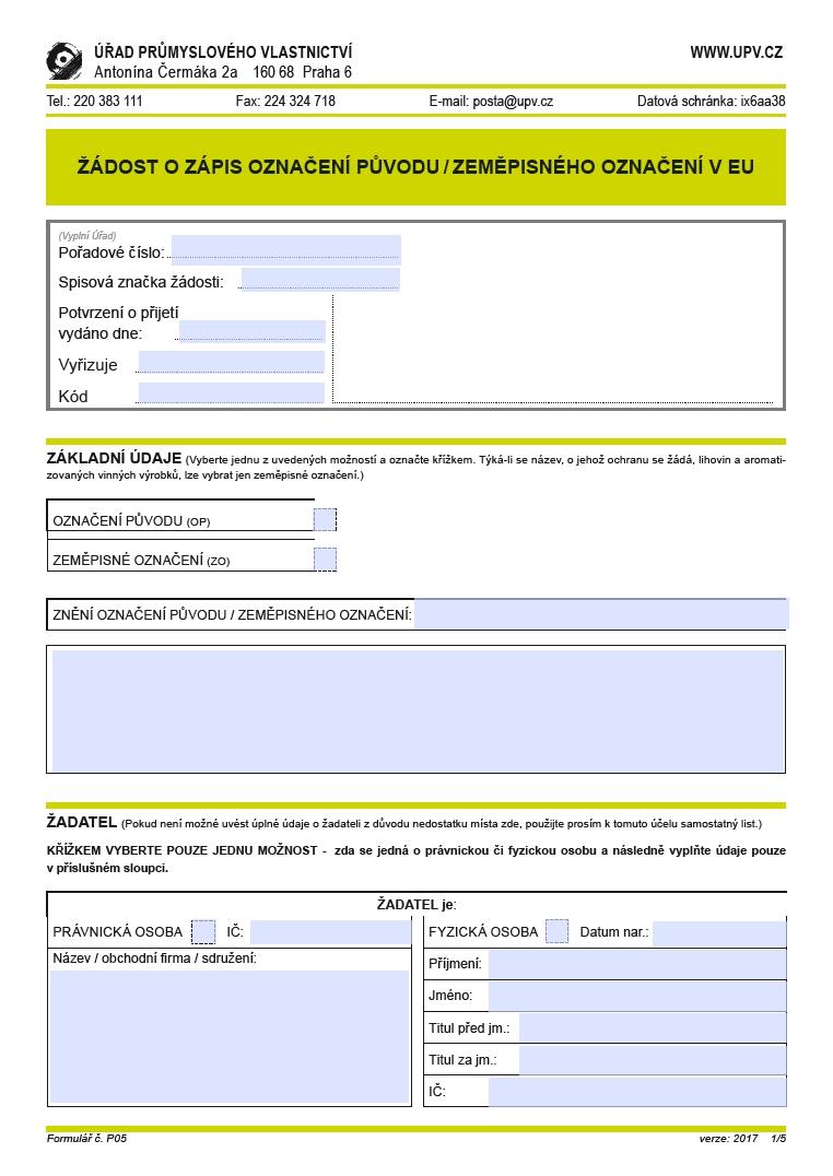 Žádost o zápis označení původu/ zeměpisného označení v EU – Úřad průmyslového vlastnictví (ÚPV)