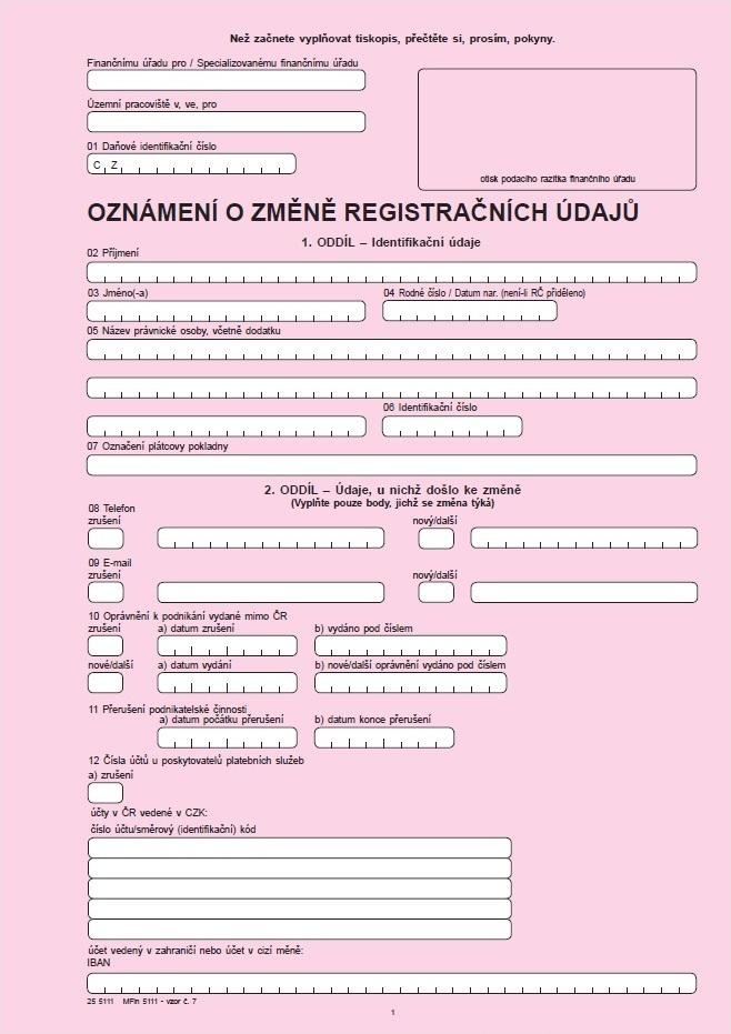 Oznámení o změně registračních údajů – Finanční správa ČR (FS ČR)