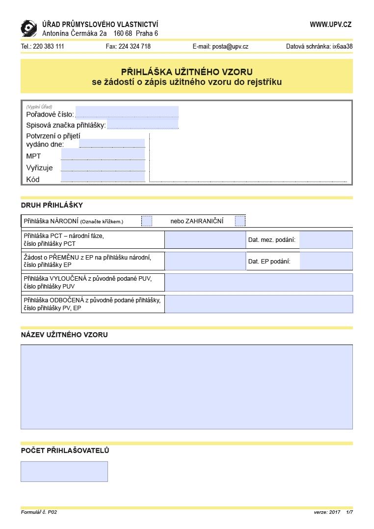 Přihláška užitného vzoru – Úřad průmyslového vlastnictví (ÚPV)