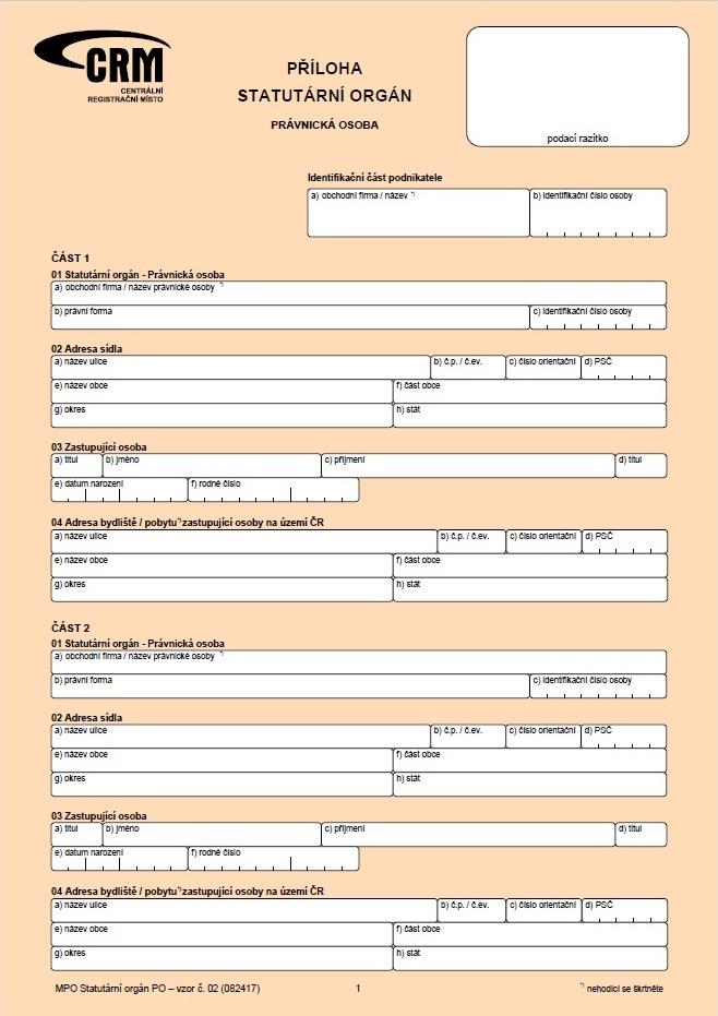 Příloha - Statutární orgán právnická osoba