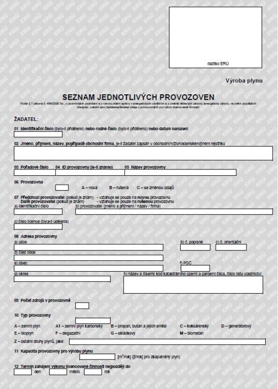 Seznam jednotlivých provozoven – výroba plynu – Energetický regulační úřad (ERÚ)