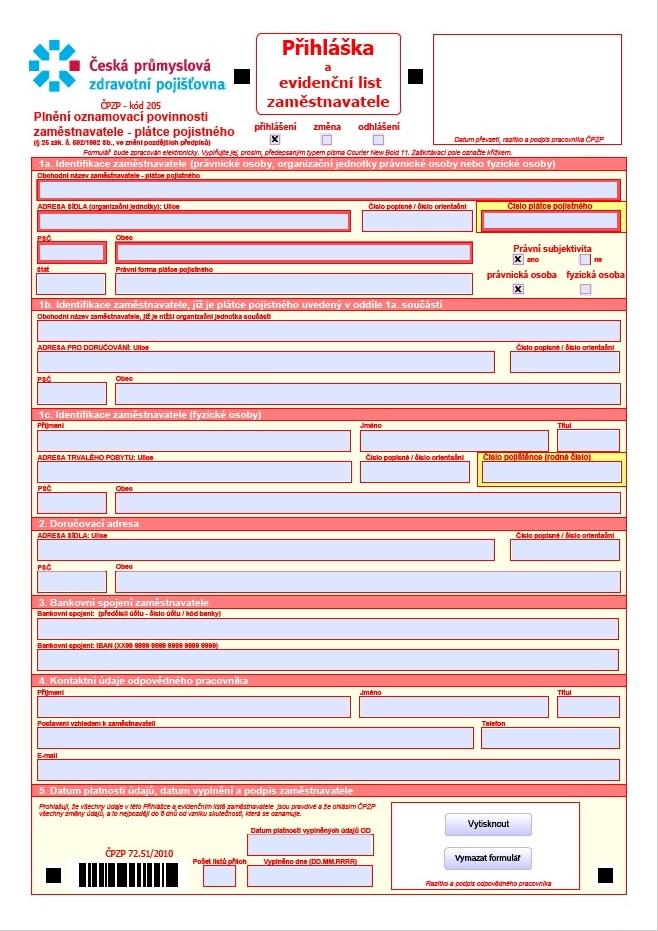 Přihláška zaměstnavatele – Česká průmyslová zdravotní pojišťovna (ČPZP)