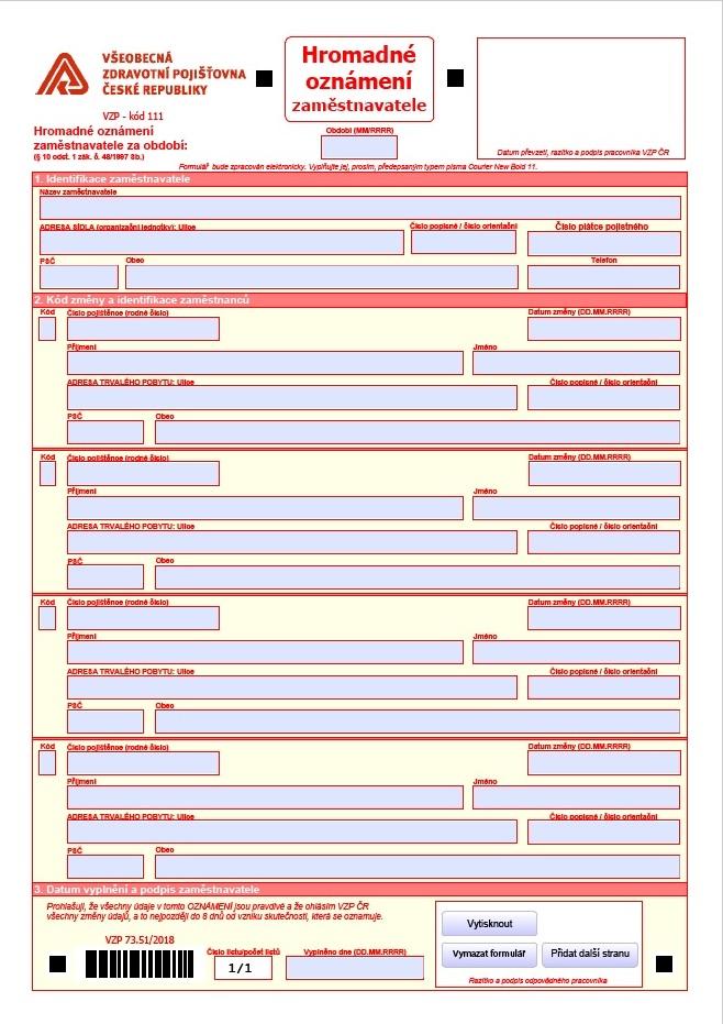 Hromadné oznámení zaměstnavatele – Všeobecná zdravotní pojišťovna (VZP)