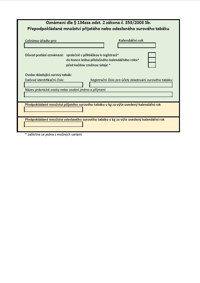Oznámení pro předpokládané množství přijatého nebo odeslaného surového tabáku