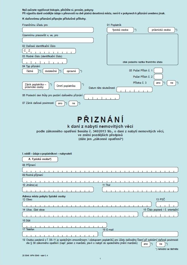 Přiznání k dani z nabytí nemovitých věcí – Finanční správa ČR (FS ČR)