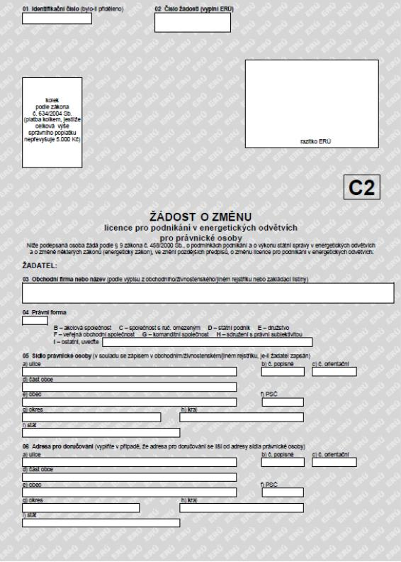 Žádost o změnu licence pro podnikání v energetických odvětvích pro právnické osoby – Energetický regulační úřad (ERÚ)