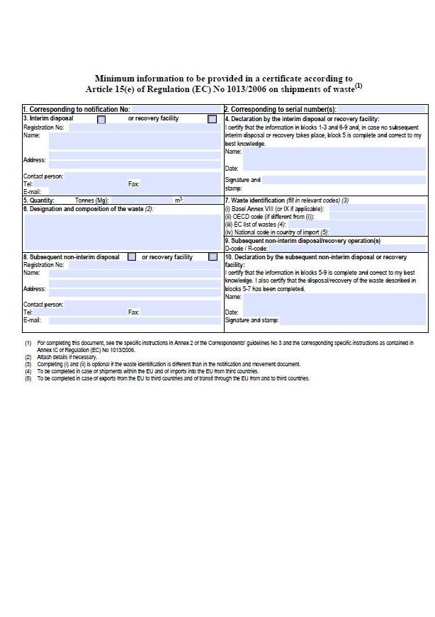 Průvodní doklad určený pro následné zpracovatelské zařízení – Ministerstvo životního prostředí (MŽP)