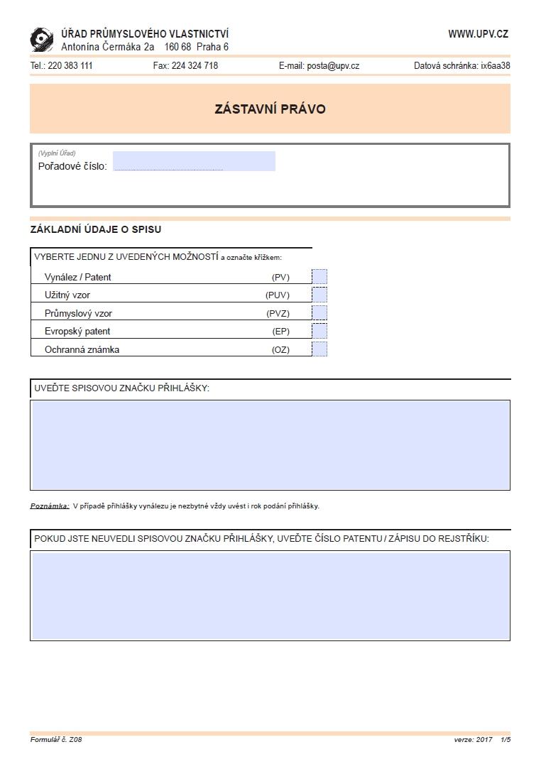 Žádost o zápis/ změny zástavního práva, konkurzu, exekuce – Úřad průmyslového vlastnictví (ÚPV)