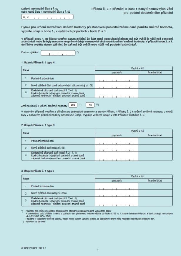 Příloha č. 3 k Přiznání k dani z nabytí nemovitých věcí pro podání dodatečného příznání – Finanční správa ČR (FS ČR)