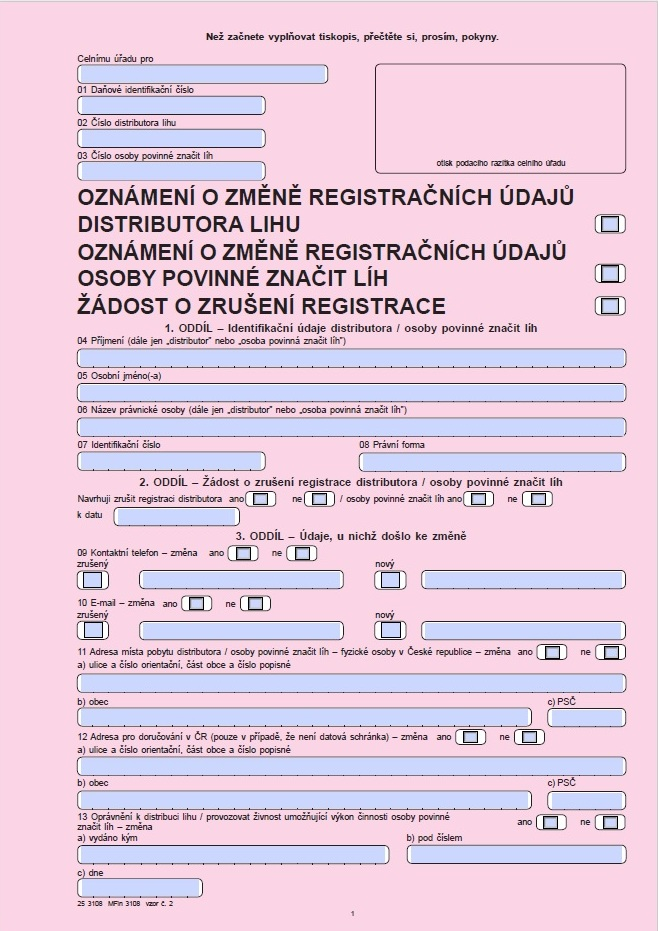 Oznámení o změně registračních údajů osoby povinné značit líh nebo distributora lihu / Žádost o zrušení registrace