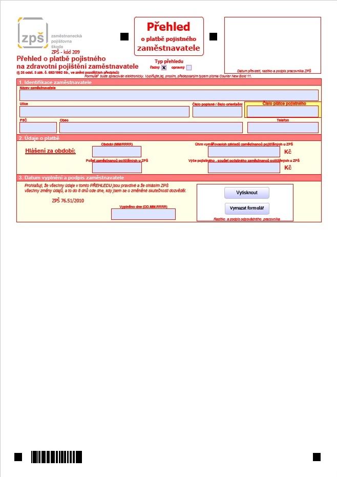 Přehled o platbě pojistného zaměstnavatele – Zaměstnanecká pojišťovna Škoda (ZPŠ)