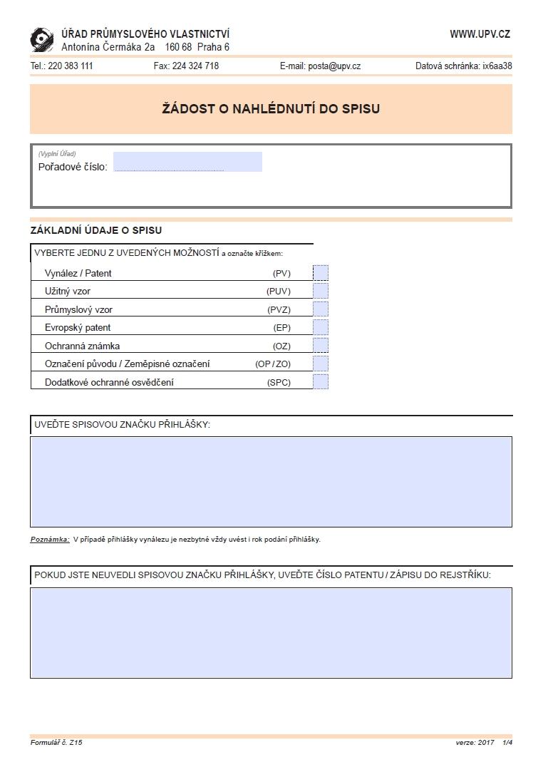 Žádost o nahlédnutí do spisu – Úřad průmyslového vlastnictví (ÚPV)
