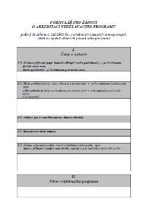 Žádost o akreditaci vzdělávacího programu – Ministerstvo vnitra (MV)