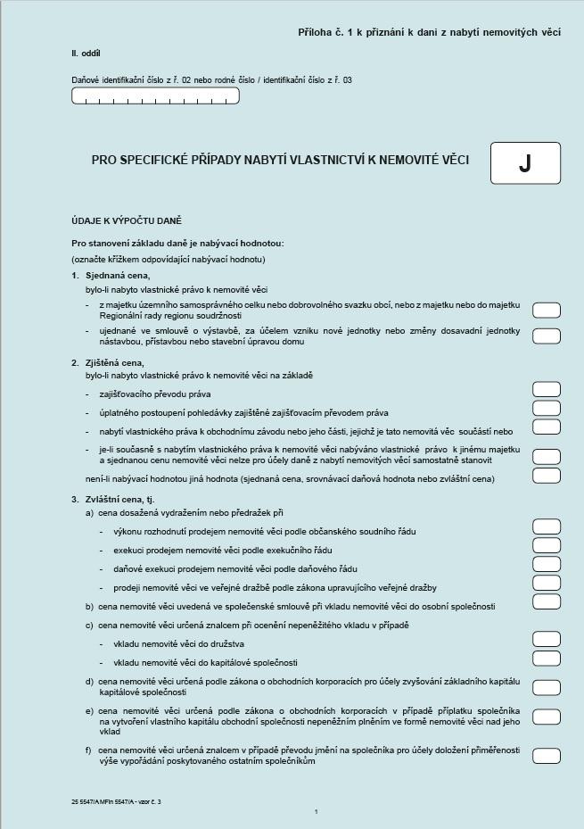 Příloha č. 1 k Přiznání k dani z nabytí nemovitých věcí pro specifické případy nabytí vlastnictví k nemovité věci (typ J) (FS ČR)