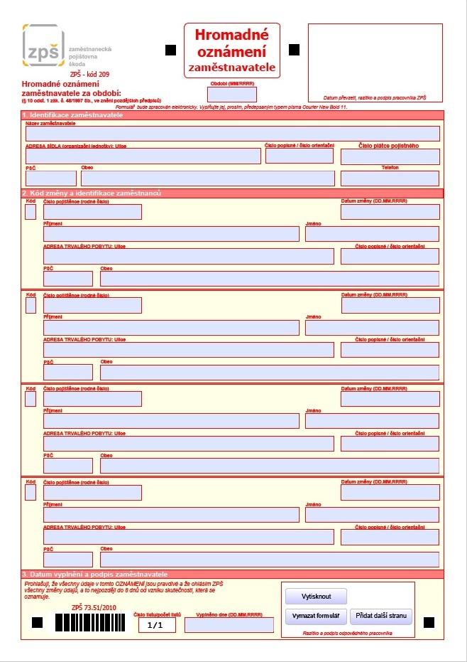 Hromadné oznámení zaměstnavatele – Zaměstnanecká pojišťovna Škoda (ZPŠ)