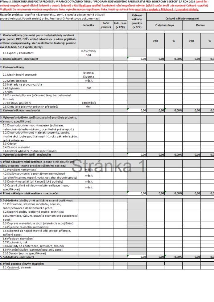 Strukturovaný rozpočet projektu pro Program rozvojového partnerství pro soukromý sektor (MZV)
