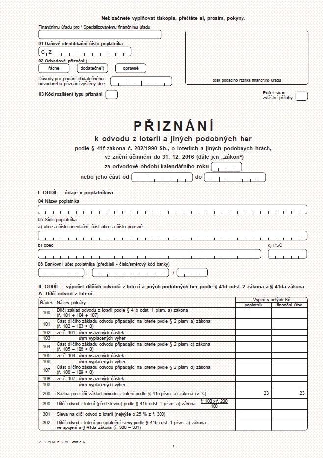 Přiznání k odvodu z loterií a jiných podobných her – Finanční správa ČR (FS ČR)