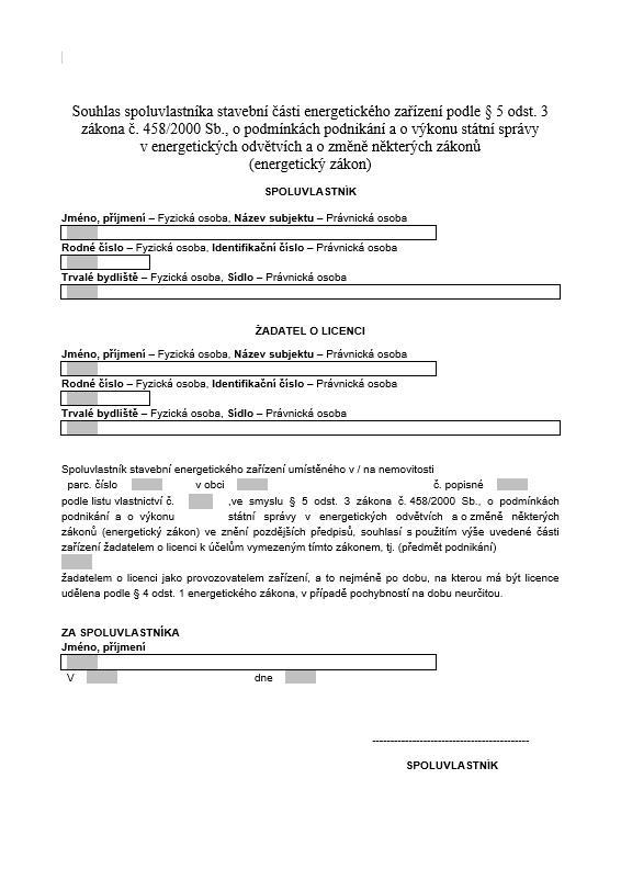 Souhlas s užíváním stavební části – Energetický regulační úřad (ERÚ)