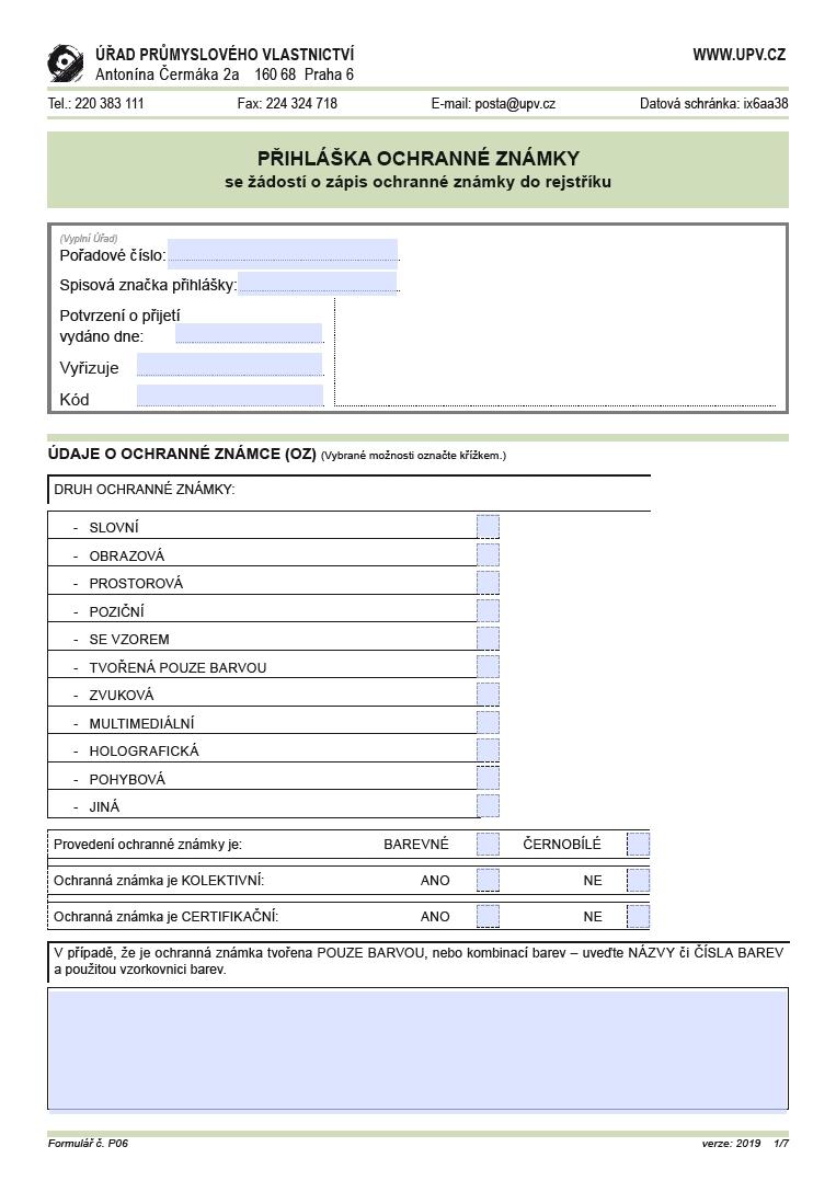 Přihláška ochranné známky – Úřad průmyslového vlastnictví (ÚPV)