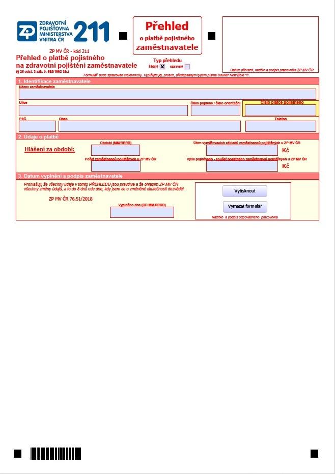 Přehled o platbě pojistného zaměstnavatele – Zdravotní pojišťovna Ministerstva vnitra ČR (ZPMV ČR)