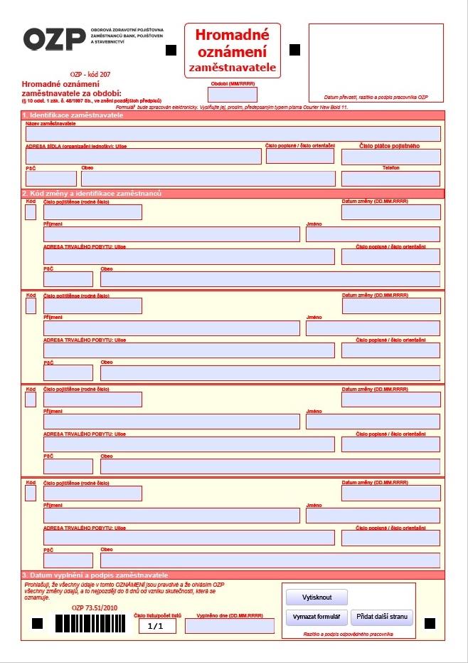 Hromadné oznámení zaměstnavatele – Oborová zdravotní pojišťovna (OZP)