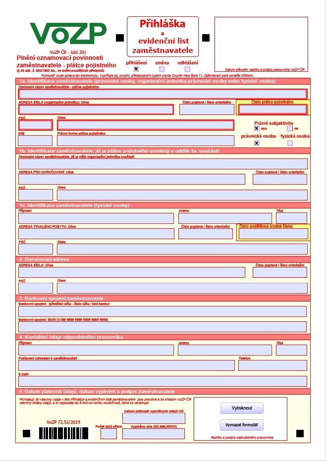 Přihláška a evidenční list zaměstnavatele – Vojenská zdravotní pojišťovna (VOZP)