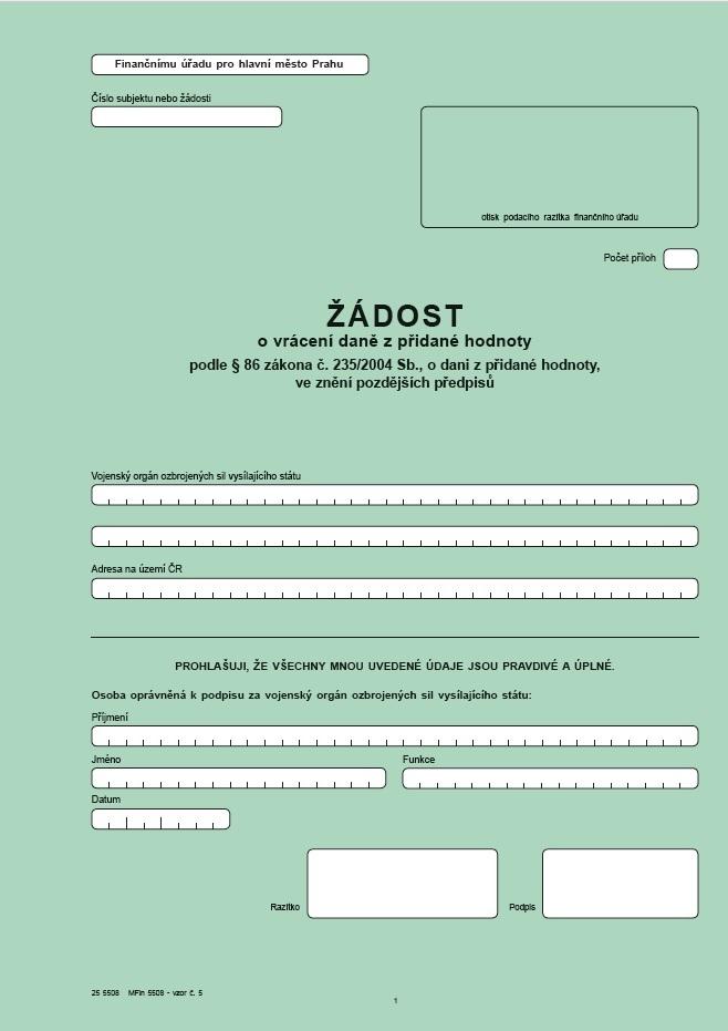 Žádost o vrácení daně z přidané hodnoty podle § 86 zákona o dani z přidané hodnoty – Finanční správa ČR (FS ČR)