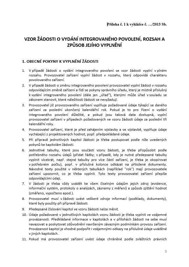 Žádost o vydání integrovaného povolení – Ministerstvo životního prostředí (MŽP)