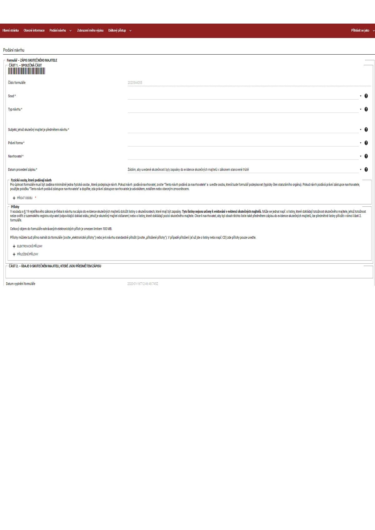 Formulář pro zápis skutečného majitele do Evidence skutečných majitelů – Ministerstvo spravedlnosti (MS)