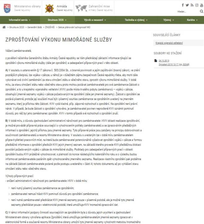 Žádost o zproštění výkonu mimořádné služby v AČR