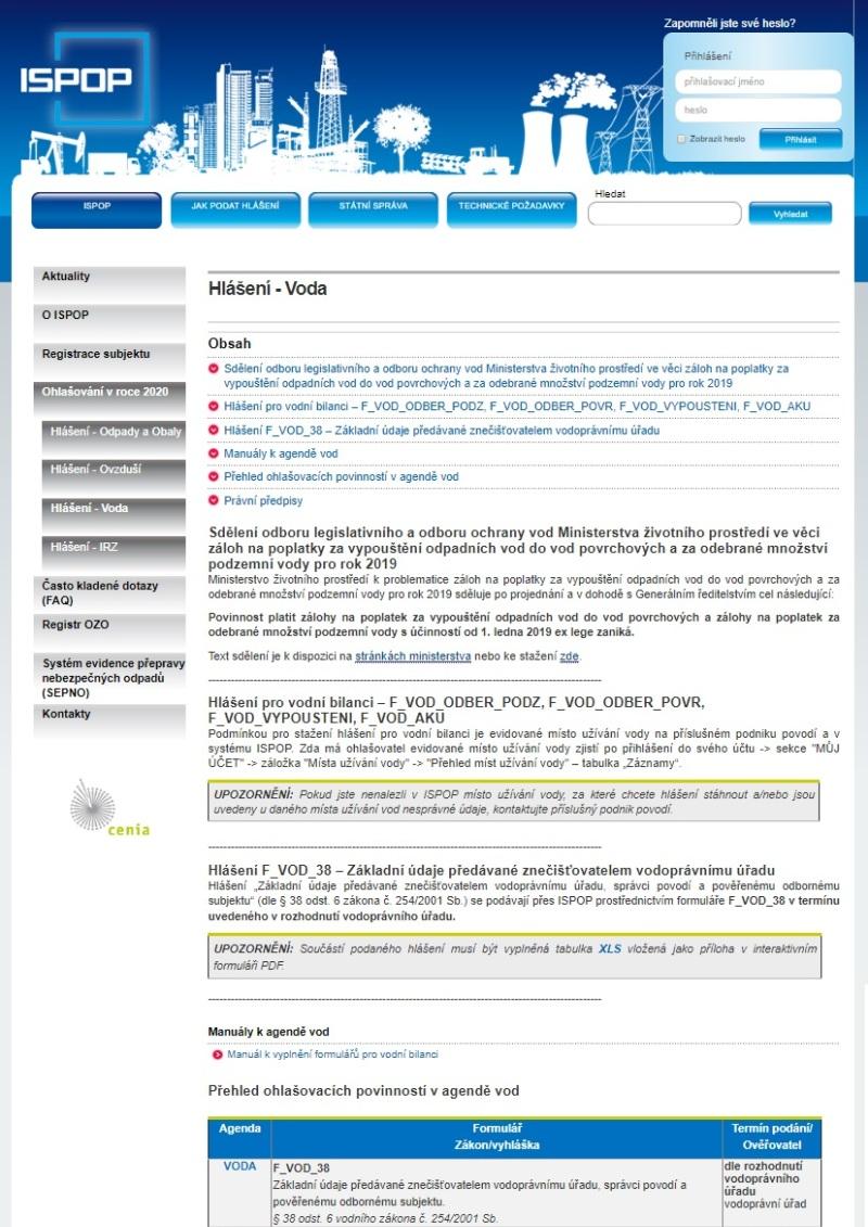 Základní údaje předávané znečišťovatelem vodoprávnímu úřadu – Ministerstvo životního prostředí (MŽP)