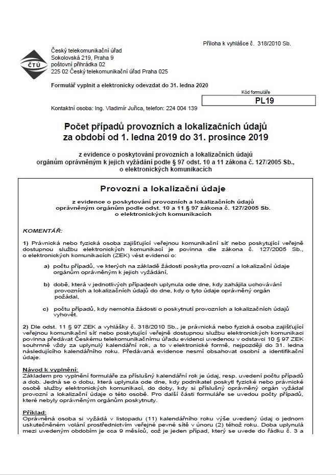 Formulář PL19 – provozní a lokalizační údaje (2019) (ČTÚ)