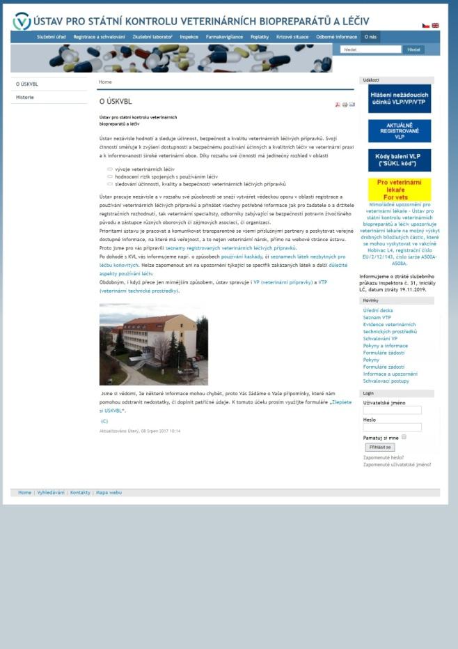 Předávání informací o medikaci krmiv – Ústav pro státní kontrolu veterinárních biopreparátů a léčiv (ÚSKVBL)